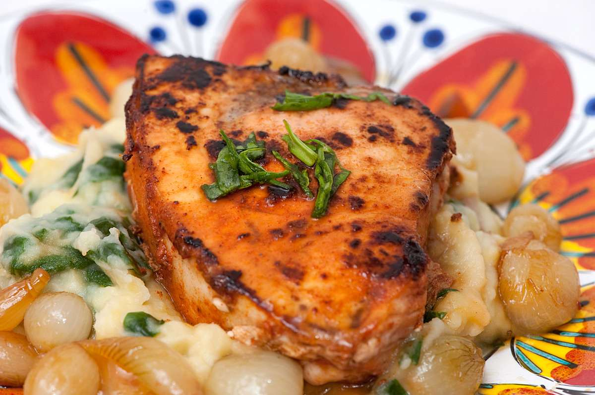 Blackened Swordfish on Truffle-Flavored Mashed Potatoes with Spinach ...