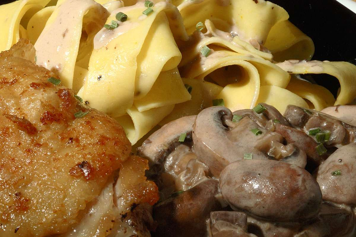 Pan-fried chicken thighs with crimini mushrooms in a simple Marsala ...