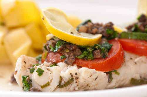 Photo of Cod Fillets with Bacon, Spinach and Mushroom Topping