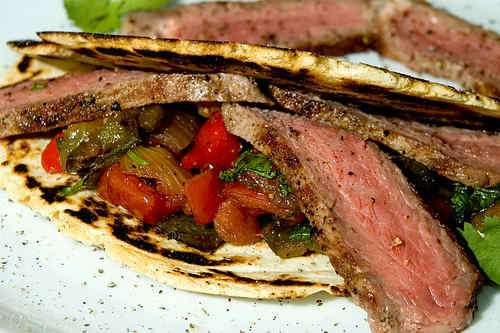 Photo of Beef Steak and Vegetables in Fresh Corn Tortillas
