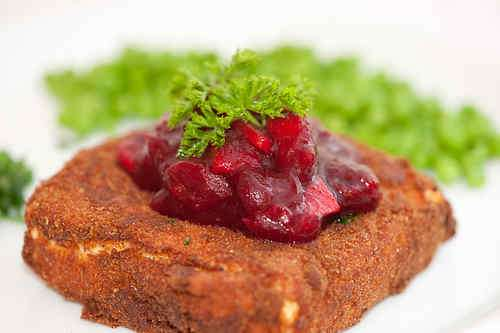 Photo of Deep-fried Feta Cheese with Cranberry Sauce