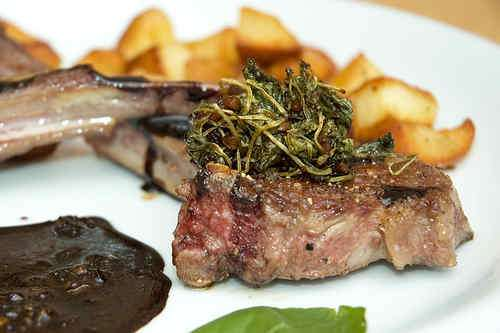 Photo of Lamb Chops with Balsamic-wilted Watercress