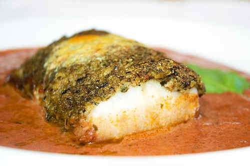 Photo of Sea Bass with Pesto Crust in Tomato Sauce