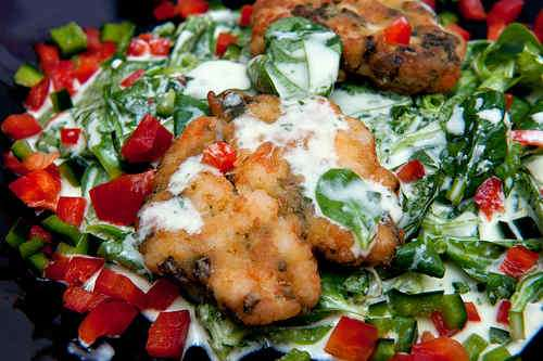 Photo of Shrimp Cakes on a Lamb's Lettuce Salad