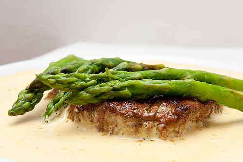 Photo of Filet Mignon with Asparagus on Espuma of Chanterelles