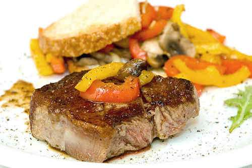 Photo of Steak with Mushroom and Bell Pepper Panini